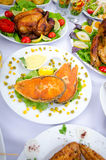 Table served with  meals Stock Photo