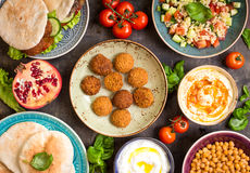 Table served with middle eastern traditional dishes Royalty Free Stock Images