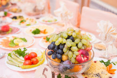 Table served with tasty meals Stock Images