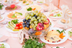 Table served with tasty meals Stock Image