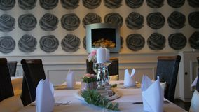 Table served for Wedding dinner in living room.  stock video footage
