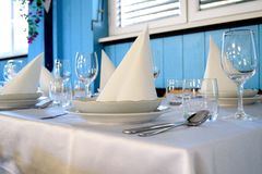 Table service in the restaurant. Stock Image