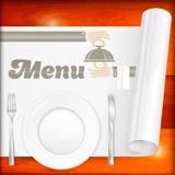 Table servie avec le menu Photos stock