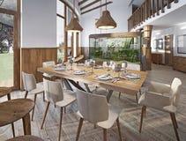 Table servie pour huit dans la salle à manger dans le grenier avec la haute Photographie stock