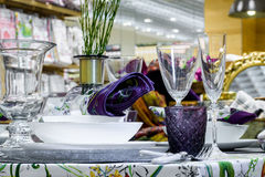 Table serving with decorative tableware Stock Images
