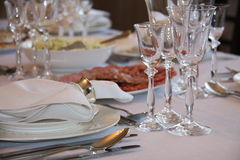 Table serving. Home /private/ table serving according diplomatic etiket and protocol rules Stock Photo
