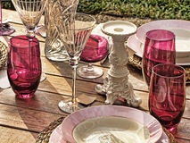 Table set. Of glasses and dishes stock photos