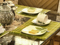 Table set. Of glasses and dishes royalty free stock photos