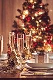 Table set. Athmospheric picture of a table set for christmas dinner stock image