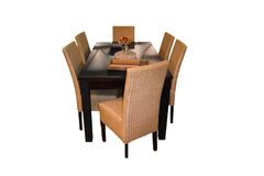 Table set. Table furniture set with few chairs (path included stock photo