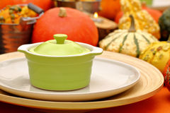 Table set with autumn pumpkins on thanksgiving day Royalty Free Stock Image