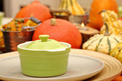 Table set with autumn pumpkins on thanksgiving day Stock Photo