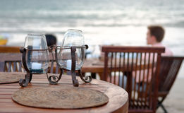 Table set at beach Royalty Free Stock Photography