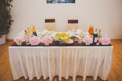Table set for bride and groom. decorated wedding Royalty Free Stock Image