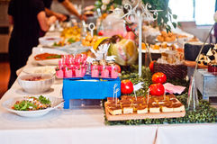 Table set for buffet. With typical Tuscan products Stock Photo