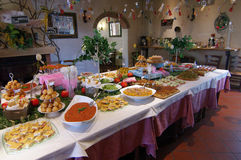 Table set for buffet. With typical Tuscan products Stock Image