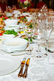 Table set for catered event dinner Stock Photography
