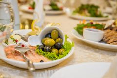 Table set for celebration style with meal Royalty Free Stock Images