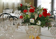 Table set for the celebration of the wedding ceremony Royalty Free Stock Photo