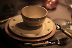Table set for Christmas celebration Royalty Free Stock Photo