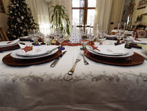 Table set for christmas dinner Royalty Free Stock Image
