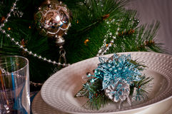 Table set for christmas dinner with decoration blue and silver Stock Photography
