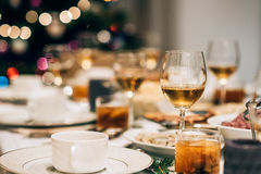 Table set for a Christmas dinner Stock Image
