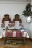 Table set for Christmas dinner Stock Images