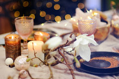 Table set for Christmas/New Year party. Table set for wedding reception or Christmas/New Year party Royalty Free Stock Photos