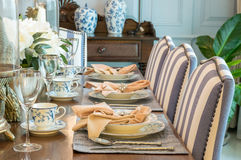 Table set in classic style dining room Royalty Free Stock Photo
