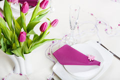Free Table Set Decoration In Purple Royalty Free Stock Photos - 35349878