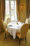Table set for dining in french restaurant Royalty Free Stock Photos
