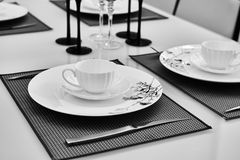 table set in dining room Royalty Free Stock Photo
