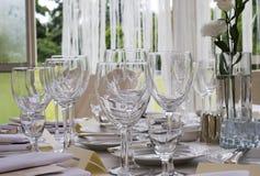 Table set for dinner Stock Image