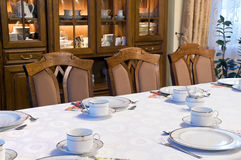 Table set for dinner. Table set for formal dinner meeting royalty free stock photos