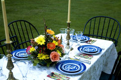 Table Set for Dinner. An outdoor table ready for an elegant diner Stock Images