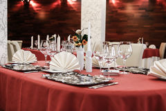 Table set for dinner in modern restaurant Stock Photography