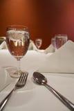 Table set for dinner. Prepared Table set for dinner Stock Image