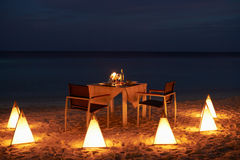 Table Set For Evening Meal Stock Photos
