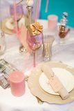 Table set for event with a compliment for guests Royalty Free Stock Image
