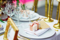 Table set for an event with compliment for guests Stock Images