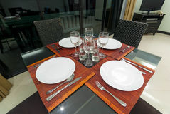 Table set for an event in living room Royalty Free Stock Images
