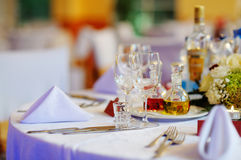 Table set for an event party. Or wedding reception Stock Images