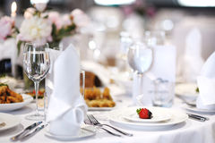 Table set for an event party. Or wedding reception Royalty Free Stock Image