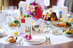 Table set for an event party. Or wedding reception Royalty Free Stock Photos
