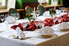 Table set for an event party Royalty Free Stock Image