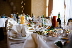 Table set for an event party. Or wedding reception Royalty Free Stock Photography