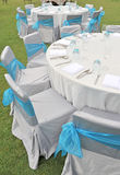 Table set for an event party. Table set for an outdoor event party Stock Photography