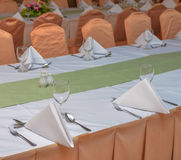 table set for an event party or dinner Stock Image
