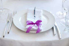 Table set for an event party or other reception Stock Photo